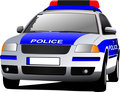 Police car. Municipal transport. Colored vector illustration.