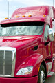 Close up of a red semi truck