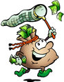 Hand-drawn Vector illustration of an Money Sack Hunting Cash