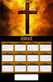 2012 Flaming Christian Cross Painting Calendar