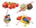 Сollage varicoloured ball for knitting