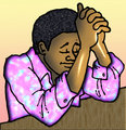African man praying