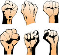 Six Struggle Hand Symbols. Vector Illustration