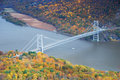 Bear Mountain bridge aerial view in Autumn