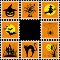 Halloween illustration set of stamp