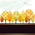 Abstract autumn tree greeting card
