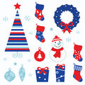 Christmas cartoon icons & elements isolated on white (red, blue)