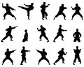 Silhouettes of positions of the karate.