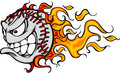 Flaming Baseball or Softball Face Vector Cartoon