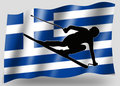 Country Flag Sport Icon Silhouette Greece Ski