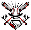 Baseball or Softball Crossed Bats with Ball Vector Image Templat