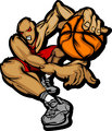 Basketball Player Cartoon Dribbling Basketball Vector Illustrati