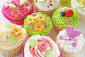 Vanilla cupcakes with various decorations