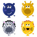 Cute animal balloon faces set isolated on white