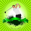 Golfer hitting ball with iron club. Vector illustration