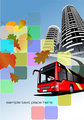City bus on the town background. Eps 10 Vector illustration