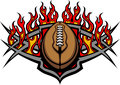 Football Ball Template with Flames Vector Image