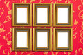 isolated picture frame on wallpaper background