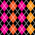 Retro colorful argile pattern - orange and pink on black backgro