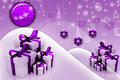 Digital illustration of abstract Winter background with gift box
