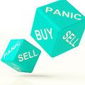Buy Panic And Sell Dice Representing Market Turmoil