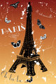 Paris - vintage poster with eiffel tower, butterflies and french