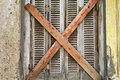 boarded up window shutter