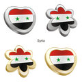 syria flag in heart and flower shape