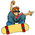 Cartoon of kid on a skateboard