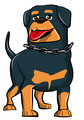 Cartoon Rottweiler with tongue sticking out