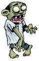 Cartoon zombie with exposed brain.