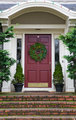 Magenta Door with Wreath