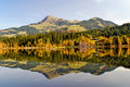 Panoramic view of lake and mountains at Schwarzsee - Kitzbuhel A