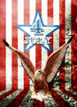 July 4 and eagle statue with American flag in Grunge style