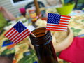 Beer Bottle with American Flags at Picnic