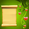 Blank parchment scroll paper and decoration elements, love vector background with red hearts
