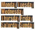 days of week in wood type