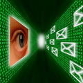 An eye monitoring emails and binary code