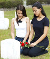 Two Sad Girls At A Grave