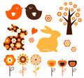 Retro spring easter design elements set ( vector )