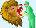 dentist and lion
