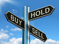 Buy Hold And Sell Signpost Representing Stocks Strategy