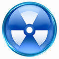 Radioactive icon blue, isolated on white background.