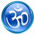 Om Symbol icon blue, isolated on white background.