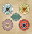 Set of vintage retro coffee labels with ornament elements
