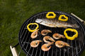 Seafood on grill