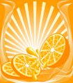 vector illustration of a beautiful orange background with the orange, sun, drops.