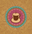Cute ornate vintage with coffee cup