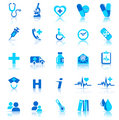 Health care Icons Blue with reflection