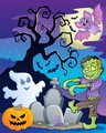 Scene with Halloween tree 6